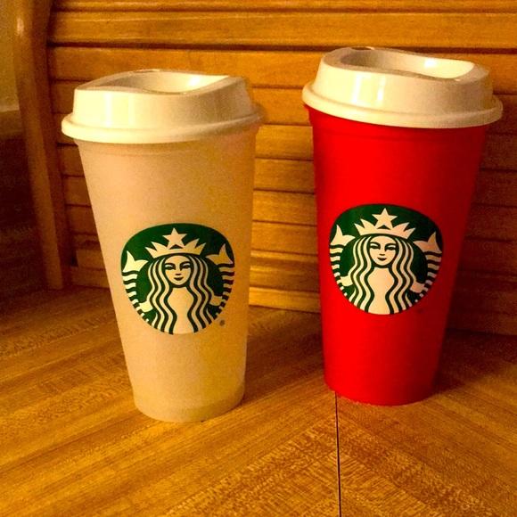Plastic Starbucks Cups and Lids Set